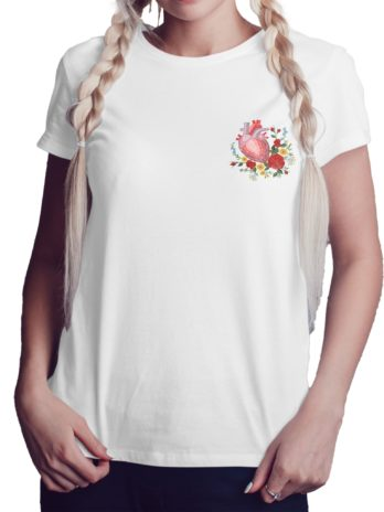 Floral Heart Illustration Graphic T-Shirt For Women