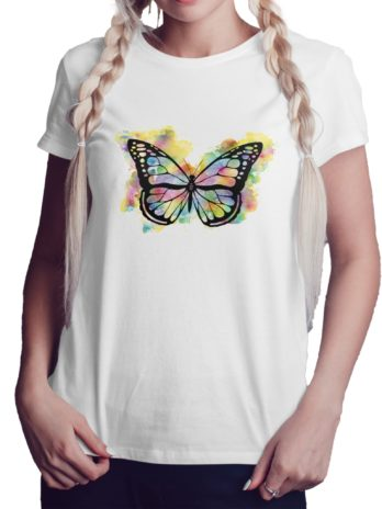 Abstract Colorful Butterfly Graphic T-Shirt For Women