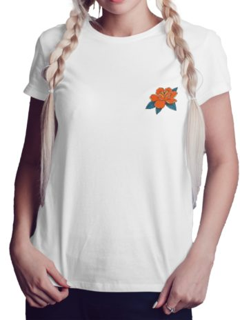 Neotraditional Rose Illustration Graphic T-Shirt For Women